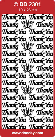 Doodey Deco Sticker - Thank you - Silver & Gold