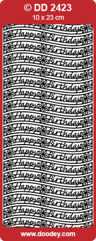 Doodey Deco Sticker - Happy Birthday - Waves - Silver & Gold