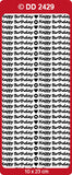 Doodey Deco Sticker - Happy Birthday small - Gold, Silver or Glossy Black