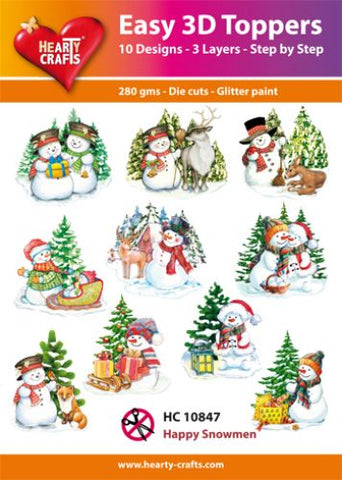 Easy 3D Die-Cut Toppers - Happy Snowmen