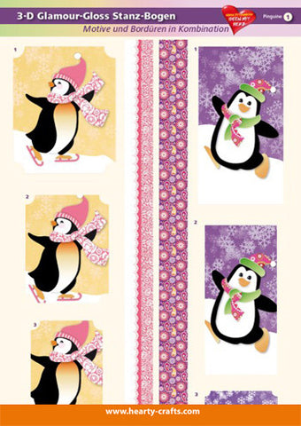 3D diecut glamour gloss card topper - Penguins 1