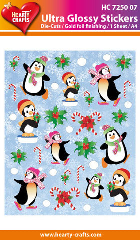 Ultra Glossy Stickers - Christmas Penguins