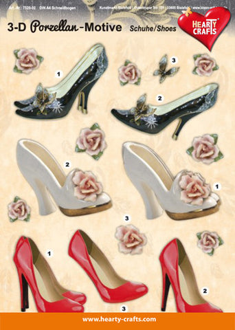3D Decoupage sheet - Porcelain Shoes