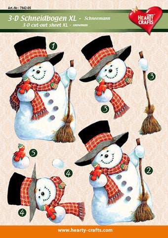 3D Decoupage Sheets - Cute Snowman XL