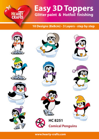 Easy 3D Die-Cut Toppers - Comical Penguins