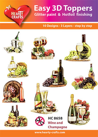 Easy 3D-Toppers Wine & Champagne
