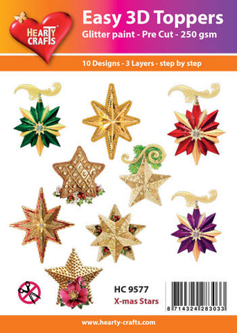 Easy 3D Die-Cut Toppers - Christmas Stars