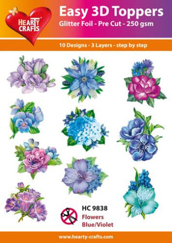 Easy 3D Die-Cut Toppers - Flowers Blue/Violet
