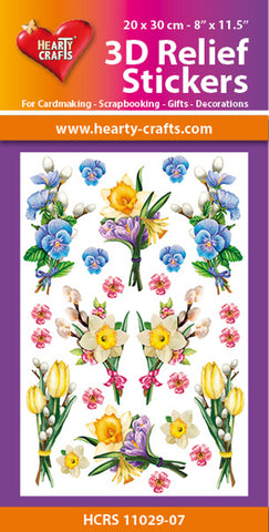 3D Relief Stickers A4 - Spring Flowers