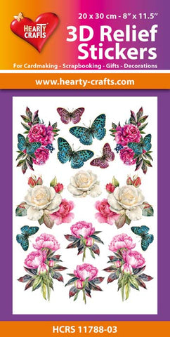 3D Relief Stickers A4 - Flowers & Butterflies