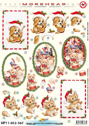 Morehead 3D Die Cut Sheet - Christmas Puppy & Kitten