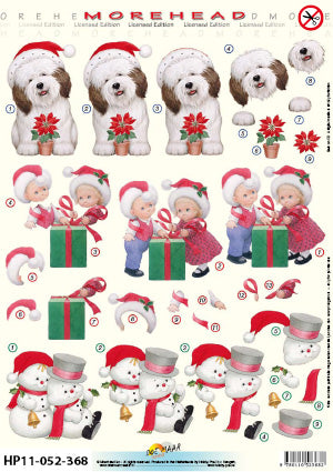 Morehead 3D Die Cut Sheet - Puppy & Snowmen