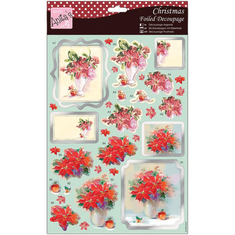 Anita's Christmas A4 Foiled Decoupage Sheet - Winter Lilies