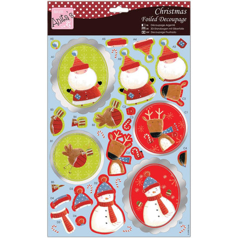 Anita's Christmas A4 Foiled Decoupage Sheet - Christmas Characters