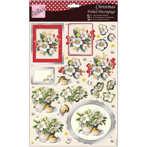 Anita's Christmas A4 Foiled Decoupage Sheet - White Flowers