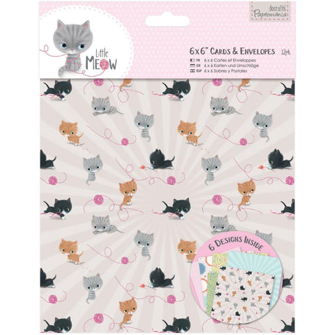 "Papermania Little Meow Cards W/Envelopes 6""X6"" 12/Pkg"
