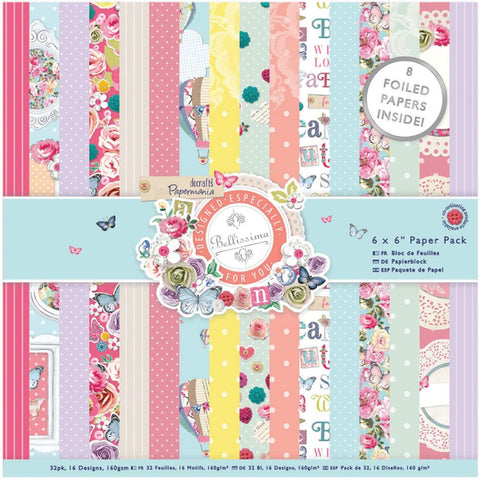 "Papermania Bellissima Paper Pack 6""X6"" 32/Sheets"