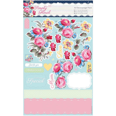Papermania Simply Floral A4 Decoupage 8 Pack - Pastel Blooms