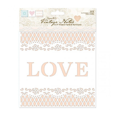"Papermania Vintage Notes Collection Cards & Envelopes 6""X6"" 6/Pkg"