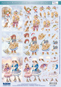 3D Die Cut Sheet - Paintbox Poppets -Winter