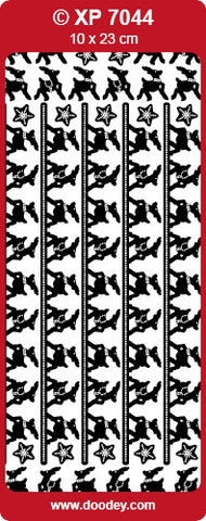 Doodey Deco Sticker - Reindeer Borders - gold & silver