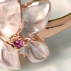 Women Round Epoxy Flower Rose Gold Ring