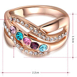 Women Round Coloured Crystal Ring