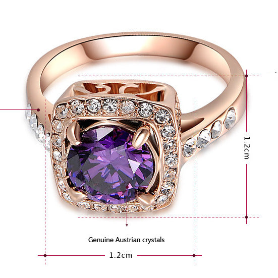 Women Amethyst Crystal Ring