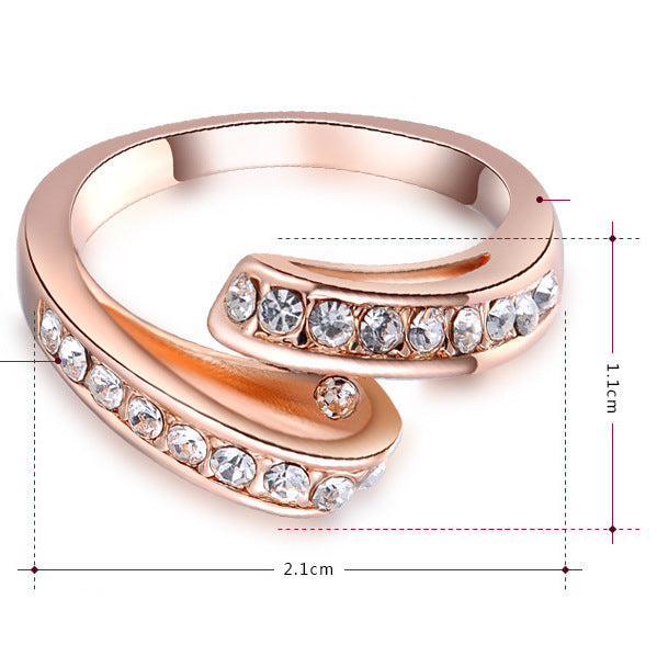 Women Round Austrian Crystals Rose Gold Ring