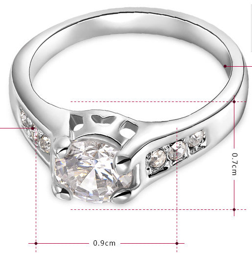 Women Round CZ Crystals White Ring