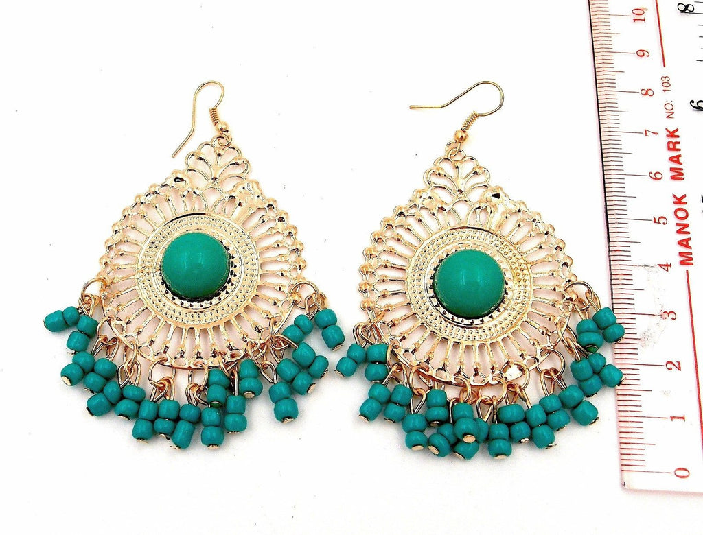 Green Beaded Tribal Gold Metal New Dangle Earrings
