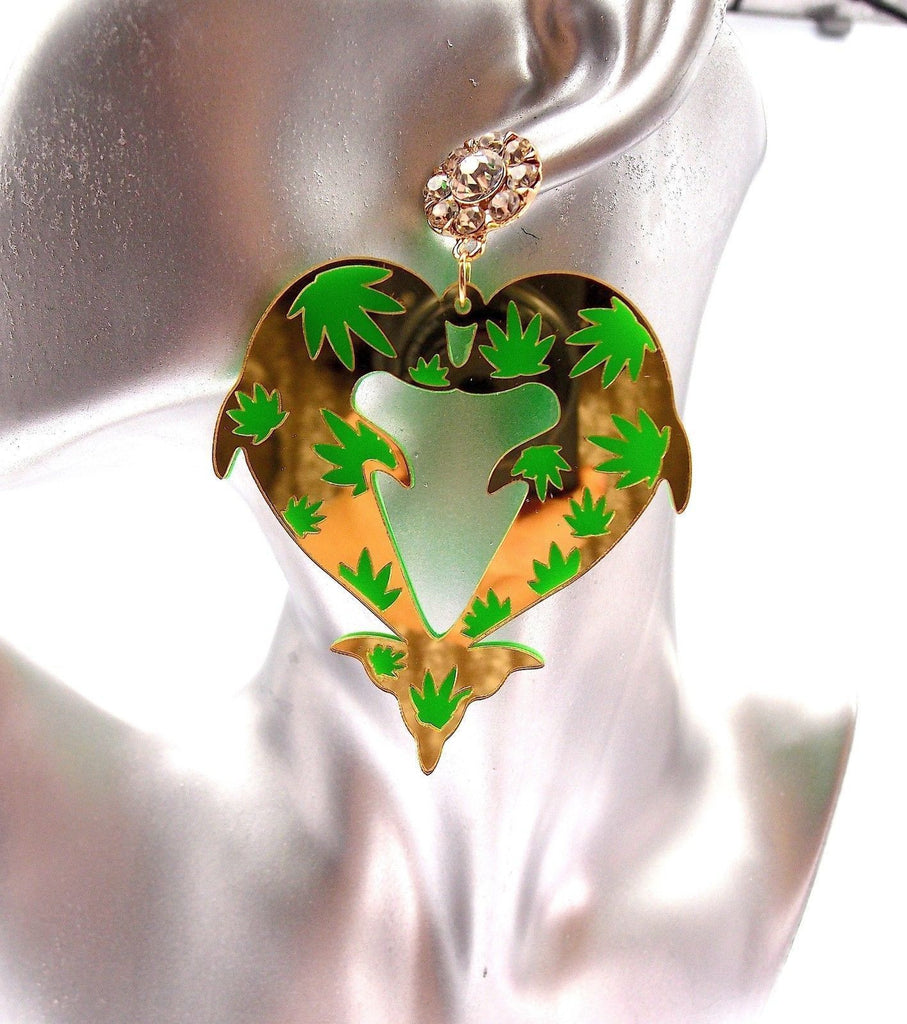 Green Tower Rhinestone Floral Drop Earrings