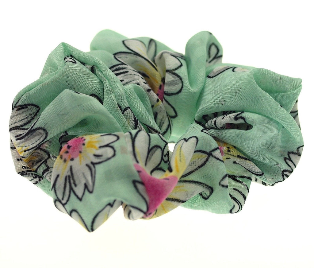 Hair Accessories Elastic Tie Green Floral Pattern Scrunchie Cotton