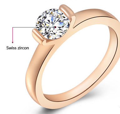Women Round Cubic Zirconia Rose Gold Ring