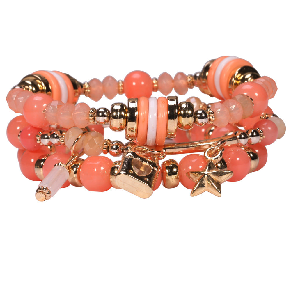 Fashion Layered Gold Orange Beaded Cuff Bracelet For Women