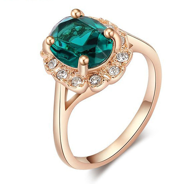 Women Round Emerald Stone Rose Gold Ring