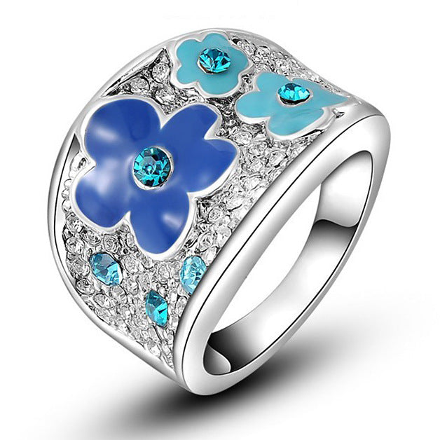 Women Round Blue Flower Ring