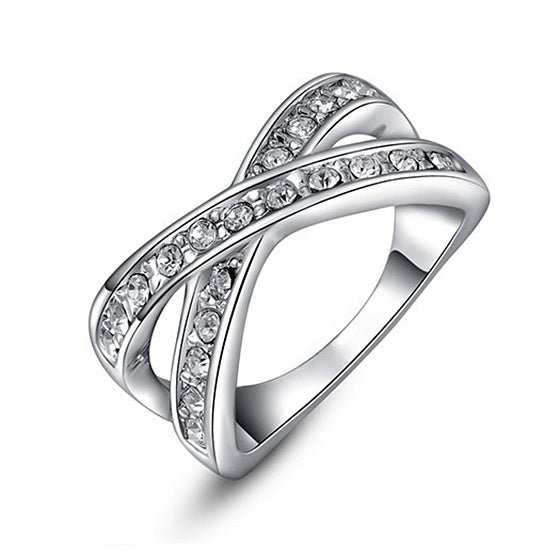 Women Round Austrian Crystals White Ring