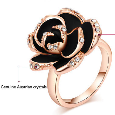 Women Round Crystal Rose Gold Ring