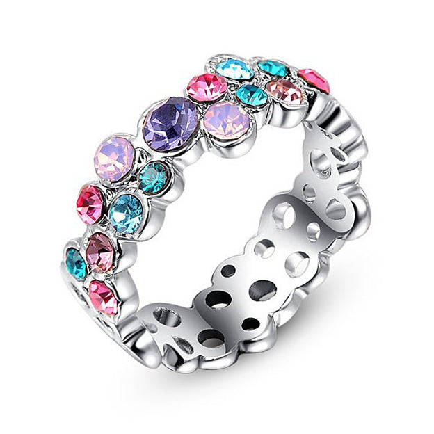 Women Round Multi-Coloured Crystals Ring
