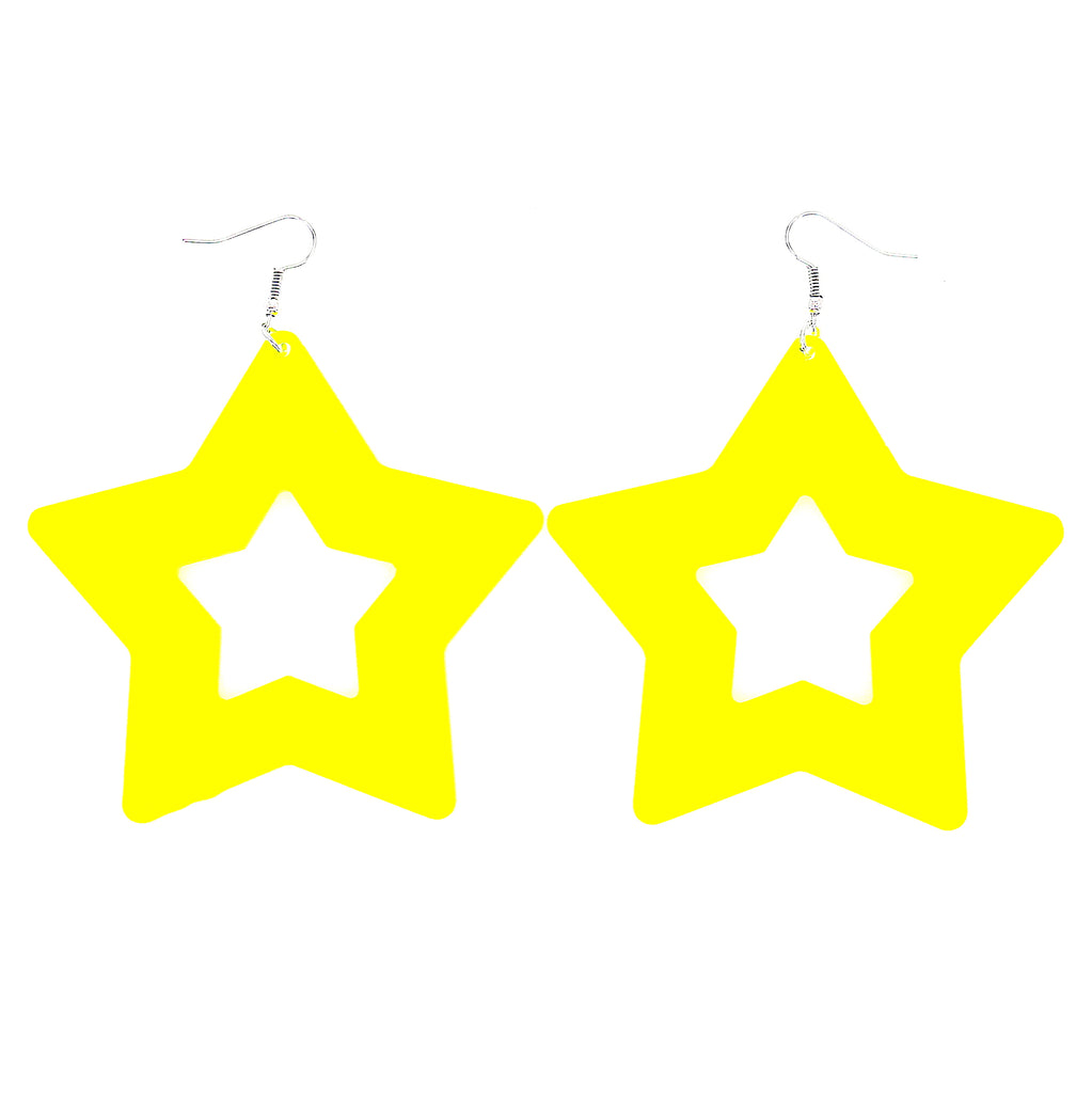Acrylic Colorful Big Star Dangle Earrings