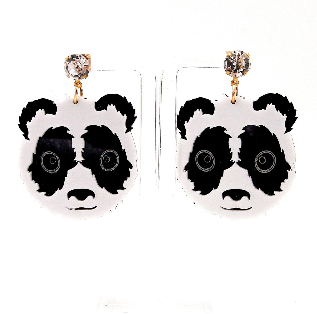 Big Acrylic Panda Black White Gemstone Studs Earrings