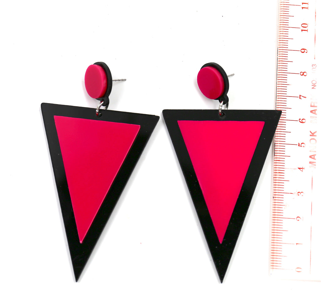 Pink Triangle & Circle Punk Party Hot Stud Earrings