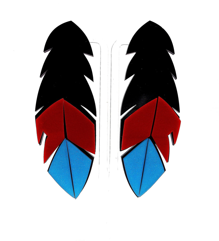 Big Acrylic Black Red Blue Feather Studs Earrings