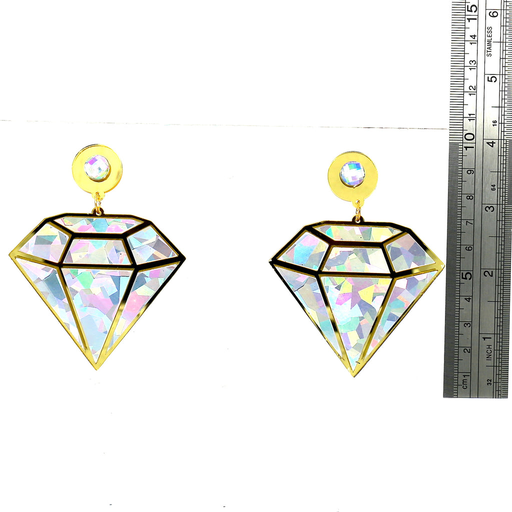 Big Diamond Acrylic Silver Gold Party Stud Earrings For Women