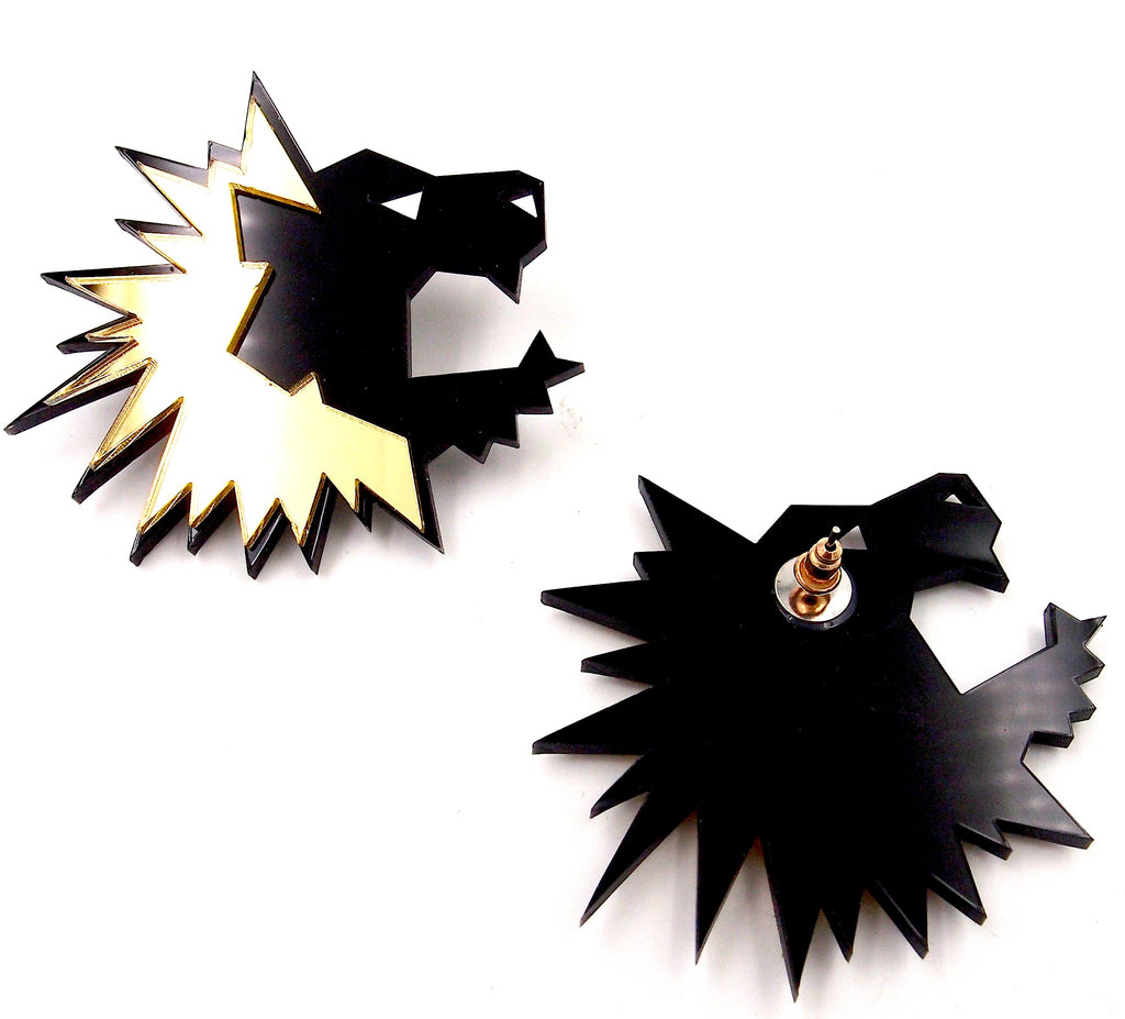 Big Lion Acrylic Gold Black Studs Earring