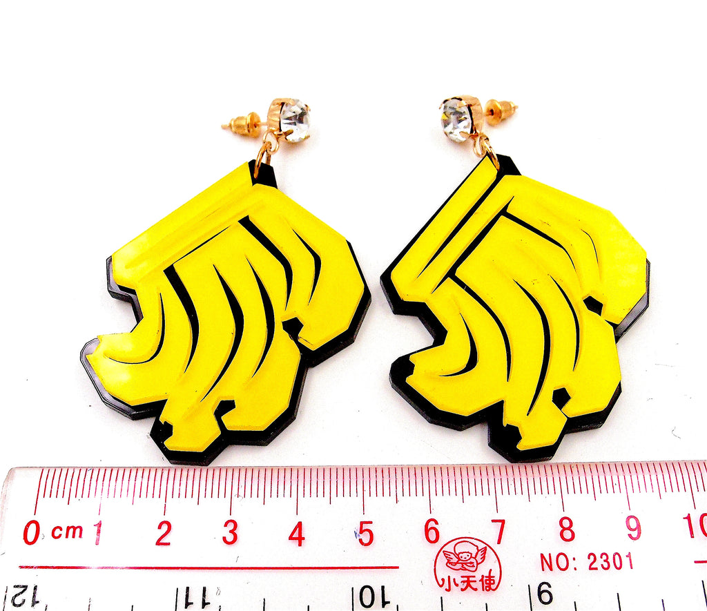 Big Acrylic Yellow Banana Stud Earrings