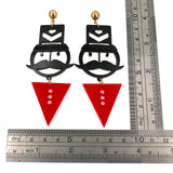 Cute Acrylic Red Black Moustache Stud Earrings