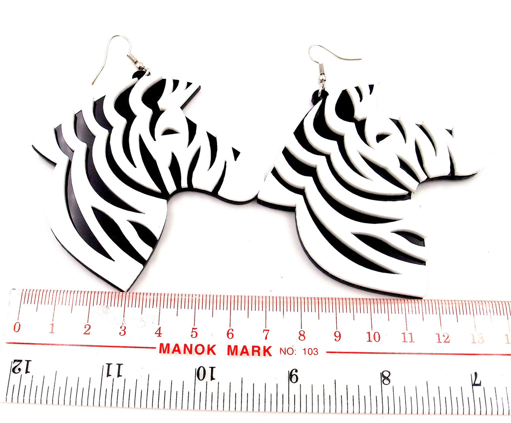 Zebra Acrylic Dangle Earrings