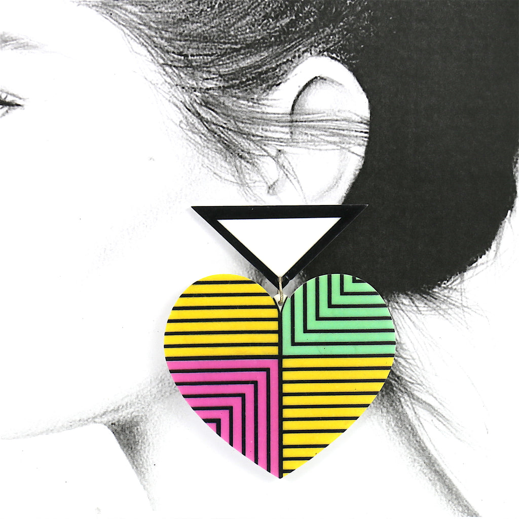 Big Acrylic Green Pink Yellow Heart Geo Stud Earrings
